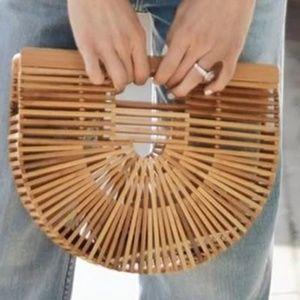 Handbags - Bamboo Vintage Style Summer Tote Half Moon Shape